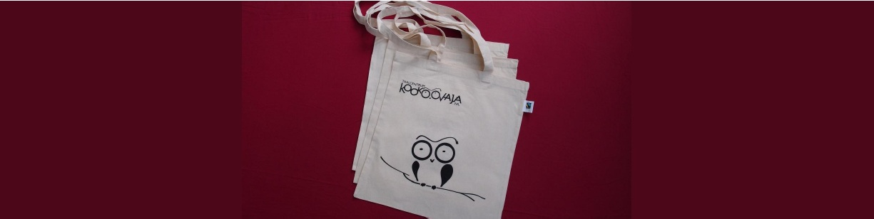 Get the Kookoovaja fairtrade tote-bag with your next course!